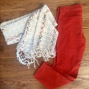NY&Co cropped cords with matching scarf size 8